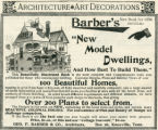 "Barber.  Geo. F. Barber ad for ""New Model Dwellings."""