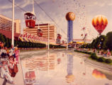 Weintz artwork of Sunsphere and lake, 1982 World's Fair