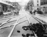 Laying streetcar tracks on Gay Street, Knoxville, TN