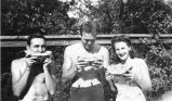 Pittenger. Frank Pittenger, Jim Polhemus and 'B' Nimick eating watermelon, 1941