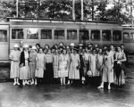 YMCA workers by streetcar, 1922