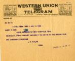 Burn.  J.R. Taylor telegram re: ratification.