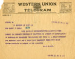 Burn. Telegram 084.  Will H. Hays telegram and handwritten note on back.